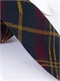 Plaid Shantung Silk Tie in Wine, Navy and Marigold