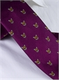 Silk Woven Fox Motif Tie in Violet