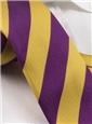 Silk Woven Block Stripe Tie in Gold and Purple