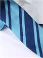 Silk Stripe Tie in Navy and Turquoise
