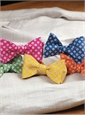 Silk and Linen Square Motif Printed Bow Tie in Lemon
