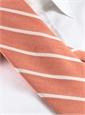 Silk and Linen Stripe Tie in Tangerine