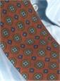 Wool Printed Medallion Motif Tie in Henna