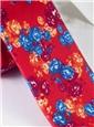 Silk Floral Print Tie in Fire