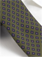 Silk Diamond Printed Tie in Olive
