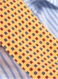 Silk Print Small Flower Tie in Marigold