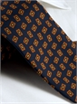 Silk Madder Print Tie with Tossed Square Motif in Navy