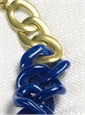 Graduated Link Necklace in Marbled Cobalt Blue and White