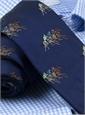 Silk Woven Equestrian Tie in Navy