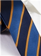 Silk Woven Block Stripe Tie in Lapis and Navy