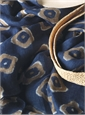 Linen Diamond Printed Scarf in Navy