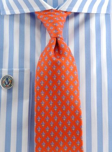 Tie Fleur De Lys Orange
