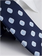 Silk Print Spiral Tie in Navy