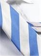 Summer Blue and White Block Stripe Tie
