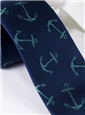 Silk Woven Anchor Motif Tie in Navy
