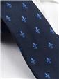Silk Woven Fleur de Lis Tie in Navy and Cobalt