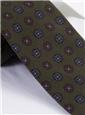 Silk Printed Medallion Motif Tie in Moss