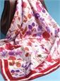 Silk Floral Scarf in Ruby