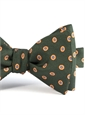 Silk Print Bow with an Octagon Motif in Hunter