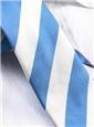 Pacific Blue and White Block Stripe Tie