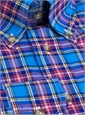 Long Sleeve Linen and Cotton Plaid Button Down in Cobalt