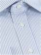 White & Blue Narrow Stripe Twill Spread Collar
