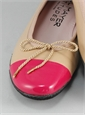 Contrast Toe Beige and Fuchsia Flats