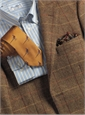Chocolate and Tan Herringbone Wool Sport Coat with Gold and Orange Windowpanes