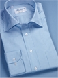 Blue and White Small Check 140s Cotton Twill Spread Collar