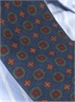 Wool Printed Medallion Motif Tie in Navy