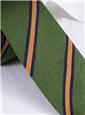 Silk Woven Stripe Tie in Leaf and Saffron