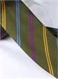 Silk Double Stripe Tie in Fern