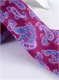Silk Print Paisley Tie in Magenta
