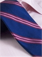 Silk Woven Triple Stripe Tie in True Blue