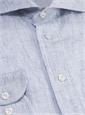Broken Blue Grid on White Cutaway in Linen