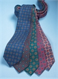 Silk Printed Madder Tie With Medallion Motif in Navy