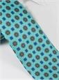 Silk Neat Print Tie in Aqua