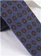 Silk Printed Medallion Motif Tie in Denim