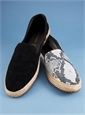 Women's Sueded Leather Espadrilles in Black