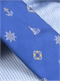 Silk Woven Tie with Sailing Motif in True Blue