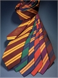 Silk Woven Double Stripe Tie in Wine with Marigold