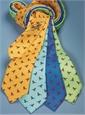 Silk Print Cardinal Motif Tie in Aqua
