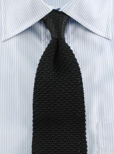 Classic Silk Knit Tie In Black