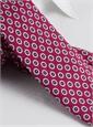Silk Print Flower Motif Tie in Fuchsia