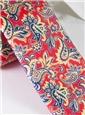 Silk Print Paisley Tie in Coral