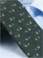Silk and Wool Print Tie with Flying Geese in Hunter