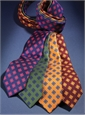 Silk Print Tie with Diamond Motif in Wine