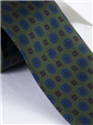 Silk Printed Flower Motif Tie in Moss