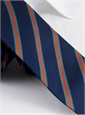 Silk Stripe Tie in Tangerine and Teal