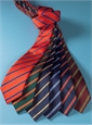 Silk Stripe Tie in Chilli and Navy